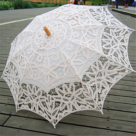 White Black Lace Parasols