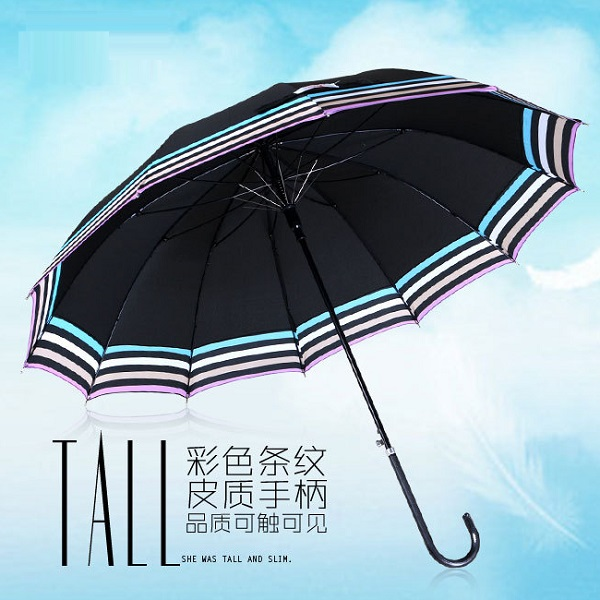 Stick Umbrellas with Colorful Stripe Edge