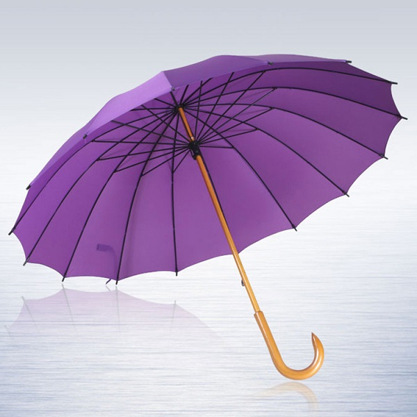 Stick Umbrellas with Wooden Shaft Crooked Handle