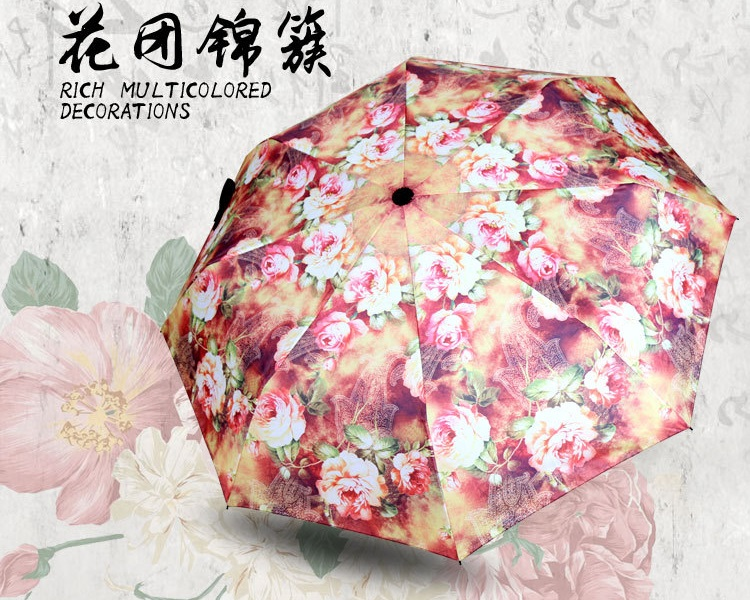 Rich Flowers Printed Compact Umbrellas I