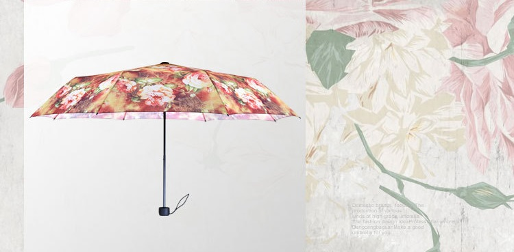 Rich Flowers Printed Compact Umbrellas III