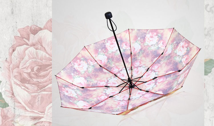 Rich Flowers Printed Compact Umbrellas IV