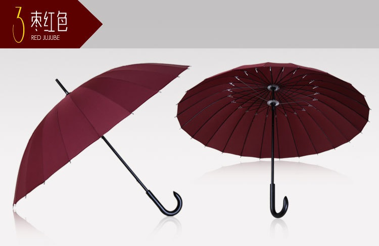Wooden Stick Umbrellas with Crooked Handle XII