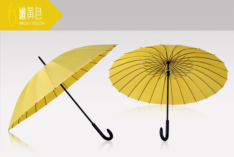 Wooden Stick Umbrellas with Crooked Handle XV