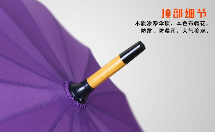 Stick Umbrellas with Wooden Shaft Crooked Handle II