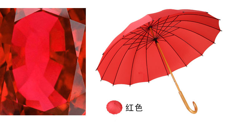 Stick Umbrellas with Wooden Shaft Crooked Handle IX